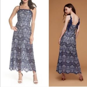 Anthro blue lace detailed floor-length dress